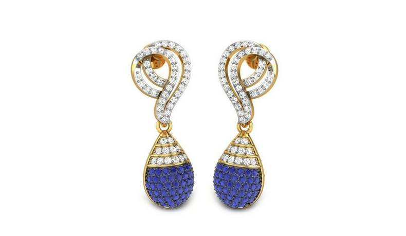 JIGYASHA BLUE GEMSTONE DETACHABLE EARRINGS