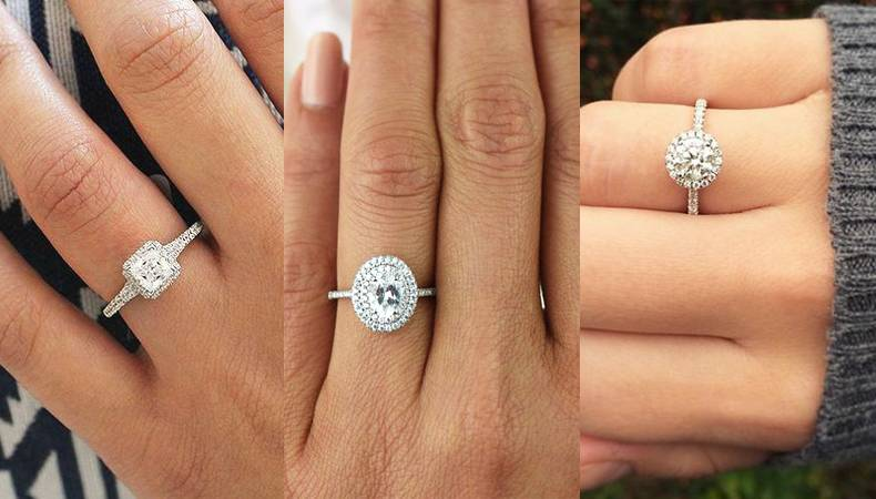 The Angel - Halo Solitaire Rings